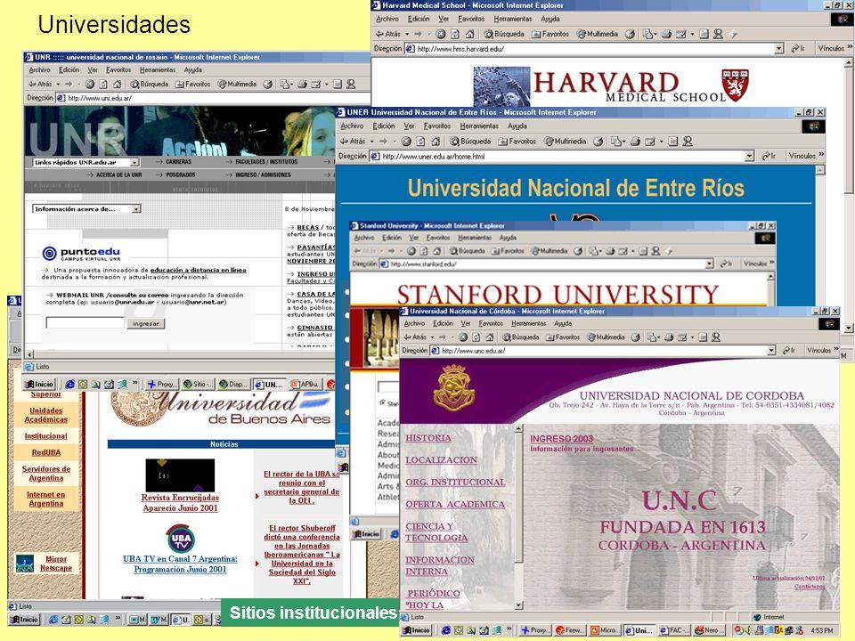 Universidades Sitios institucionales