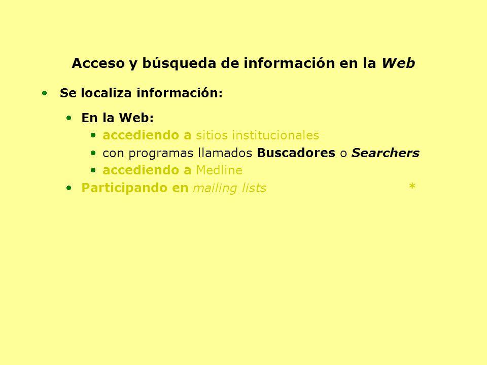 Acceso y búsqueda de información en la Web Se localiza información: En la Web: accediendo a sitios institucionales con programas llamados Buscadores o Searchers accediendo a Medline Participando en mailing lists *