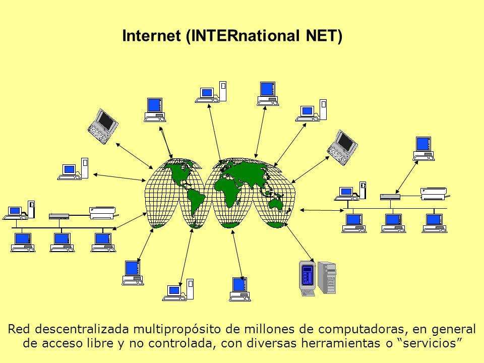 Internet (INTERnational NET) Red descentralizada multipropósito de millones de computadoras, en general de acceso libre y no controlada, con diversas herramientas o servicios