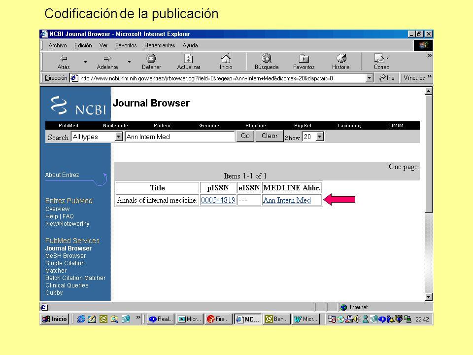 Codificación de la publicación