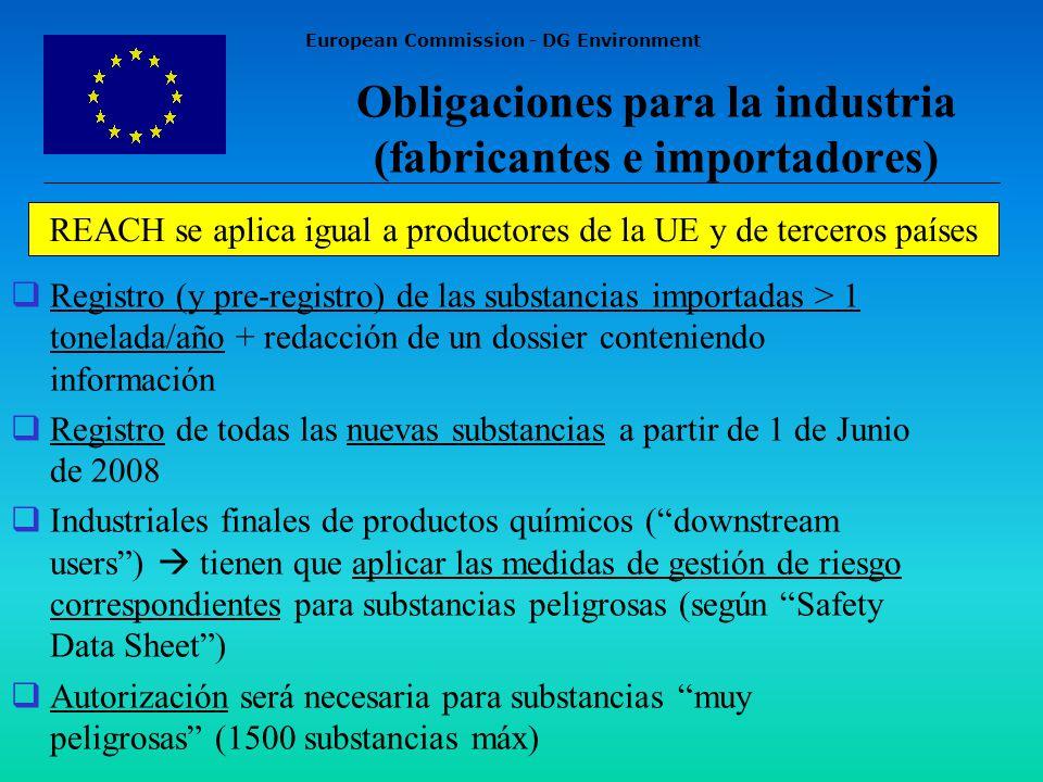European Commission - DG Environment Obligaciones para la industria (fabricantes e importadores) Registro (y pre-registro) de las substancias importadas > 1 tonelada/año + redacción de un dossier conteniendo información Registro de todas las nuevas substancias a partir de 1 de Junio de 2008 Industriales finales de productos químicos (downstream users) tienen que aplicar las medidas de gestión de riesgo correspondientes para substancias peligrosas (según Safety Data Sheet) Autorización será necesaria para substancias muy peligrosas (1500 substancias máx) REACH se aplica igual a productores de la UE y de terceros países