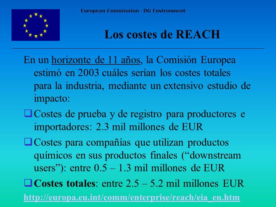European Commission - DG Environment Los costes de REACH En un horizonte de 11 años, la Comisión Europea estimó en 2003 cuáles serían los costes totales para la industria, mediante un extensivo estudio de impacto: Costes de prueba y de registro para productores e importadores: 2.3 mil millones de EUR Costes para compañías que utilizan productos químicos en sus productos finales (downstream users): entre 0.5 – 1.3 mil millones de EUR Costes totales: entre 2.5 – 5.2 mil millones EUR http://europa.eu.int/comm/enterprise/reach/eia_en.htm