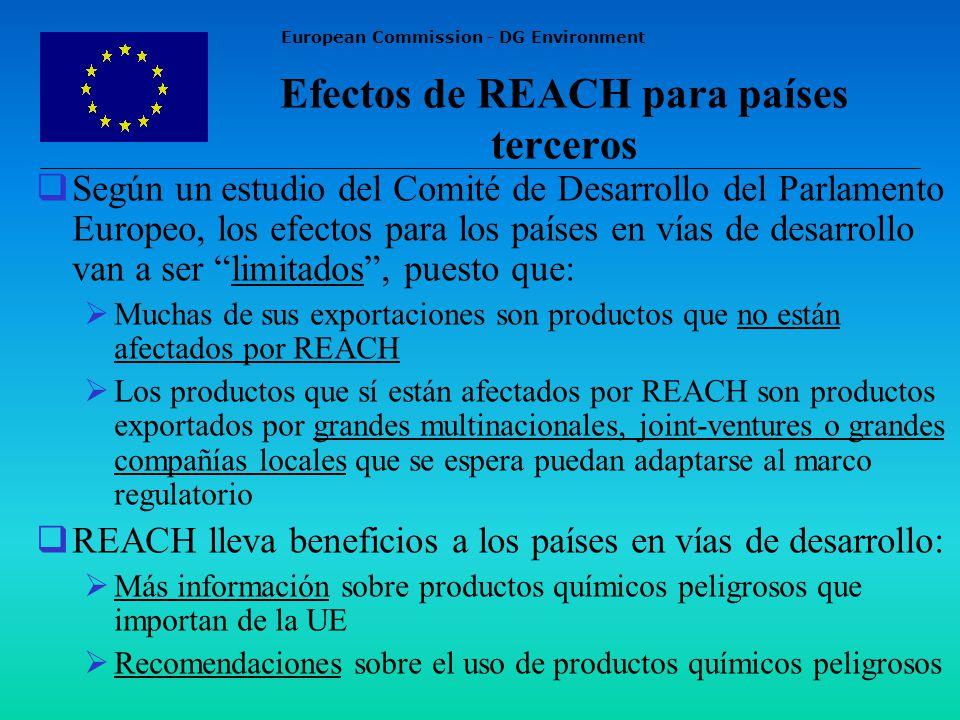 European Commission - DG Environment Efectos de REACH para países terceros Según un estudio del Comité de Desarrollo del Parlamento Europeo, los efectos para los países en vías de desarrollo van a ser limitados, puesto que: Muchas de sus exportaciones son productos que no están afectados por REACH Los productos que sí están afectados por REACH son productos exportados por grandes multinacionales, joint-ventures o grandes compañías locales que se espera puedan adaptarse al marco regulatorio REACH lleva beneficios a los países en vías de desarrollo: Más información sobre productos químicos peligrosos que importan de la UE Recomendaciones sobre el uso de productos químicos peligrosos