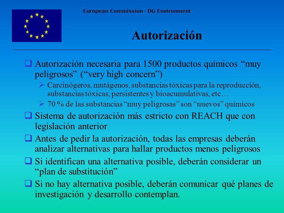 European Commission - DG Environment Autorización Autorización necesaria para 1500 productos químicos muy peligrosos (very high concern) Carcinógeros, mutágenos, substancias tóxicas para la reproducción, substancias tóxicas, persistentes y bioacumulativas, etc… 70 % de las substancias muy peligrosas son nuevos químicos Sistema de autorización más estricto con REACH que con legislación anterior Antes de pedir la autorización, todas las empresas deberán analizar alternativas para hallar productos menos peligrosos Si identifican una alternativa posible, deberán considerar un plan de substitución Si no hay alternativa posible, deberán comunicar qué planes de investigación y desarrollo contemplan.