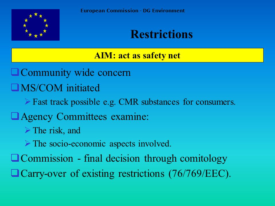 European Commission - DG Environment AIM: act as safety net Community wide concern MS/COM initiated Fast track possible e.g.