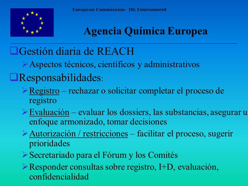 European Commission - DG Environment Gestión diaria de REACH Aspectos técnicos, científicos y administrativos Responsabilidades : Registro – rechazar o solicitar completar el proceso de registro Evaluación – evaluar los dossiers, las substancias, asegurar un enfoque armonizado, tomar decisiones Autorización / restricciones – facilitar el proceso, sugerir prioridades Secretariado para el Fórum y los Comités Responder consultas sobre registro, I+D, evaluación, confidencialidad Agencia Química Europea