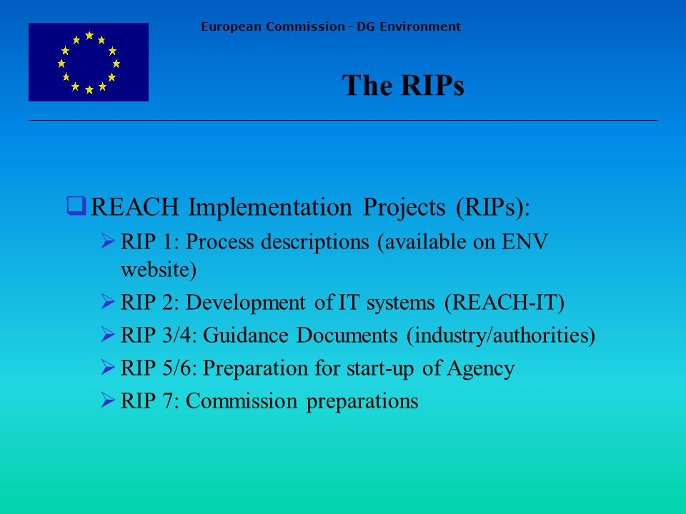 European Commission - DG Environment REACH Implementation Projects (RIPs): RIP 1: Process descriptions (available on ENV website) RIP 2: Development of IT systems (REACH-IT) RIP 3/4: Guidance Documents (industry/authorities) RIP 5/6: Preparation for start-up of Agency RIP 7: Commission preparations The RIPs