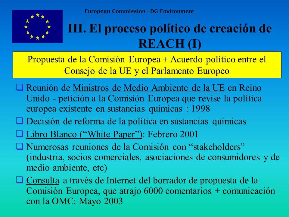 European Commission - DG Environment Reunión de Ministros de Medio Ambiente de la UE en Reino Unido - petición a la Comisión Europea que revise la política europea existente en sustancias químicas : 1998 Decisión de reforma de la política en sustancias químicas Libro Blanco (White Paper): Febrero 2001 Numerosas reuniones de la Comisión con stakeholders (industria, socios comerciales, asociaciones de consumidores y de medio ambiente, etc) Consulta a través de Internet del borrador de propuesta de la Comisión Europea, que atrajo 6000 comentarios + comunicación con la OMC: Mayo 2003 III.
