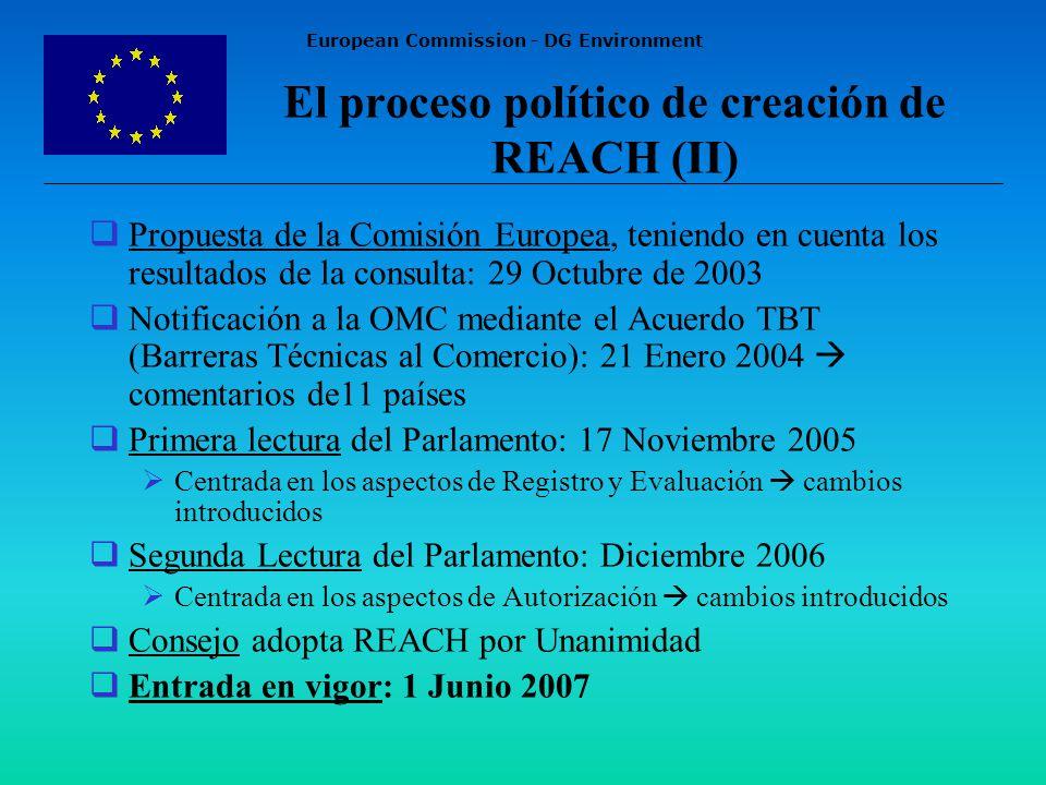 European Commission - DG Environment El proceso político de creación de REACH (II) Propuesta de la Comisión Europea, teniendo en cuenta los resultados de la consulta: 29 Octubre de 2003 Notificación a la OMC mediante el Acuerdo TBT (Barreras Técnicas al Comercio): 21 Enero 2004 comentarios de11 países Primera lectura del Parlamento: 17 Noviembre 2005 Centrada en los aspectos de Registro y Evaluación cambios introducidos Segunda Lectura del Parlamento: Diciembre 2006 Centrada en los aspectos de Autorización cambios introducidos Consejo adopta REACH por Unanimidad Entrada en vigor: 1 Junio 2007