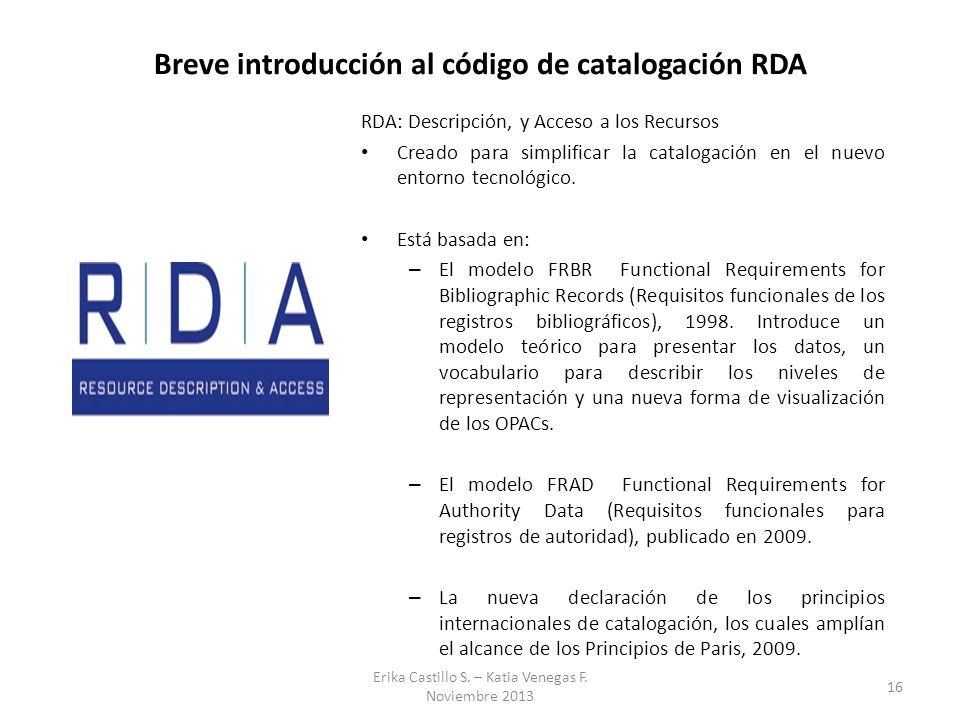 Breve introducción al código de catalogación RDA RDA: Descripción, y Acceso a los Recursos Creado para simplificar la catalogación en el nuevo entorno