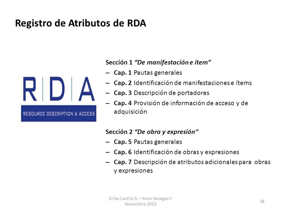 18 Erika Castillo S. – Katia Venegas F. Noviembre 2013 Registro de Atributos de RDA Sección 1 De manifestación e ítem – Cap. 1Pautas generales – Cap.