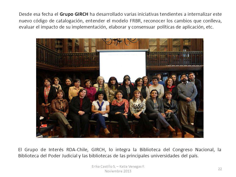 Desde esa fecha el Grupo GIRCH ha desarrollado varias iniciativas tendientes a internalizar este nuevo código de catalogación, entender el modelo FRBR
