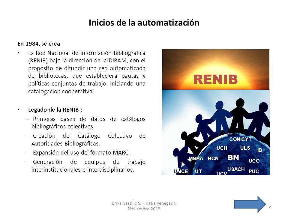Inicios de la automatización En 1984, se crea La Red Nacional de Información Bibliográfica (RENIB) bajo la dirección de la DIBAM, con el propósito de