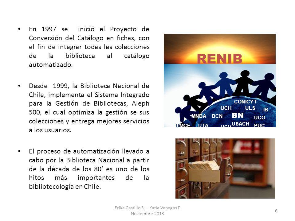 En 1997 se inició el Proyecto de Conversión del Catálogo en fichas, con el fin de integrar todas las colecciones de la biblioteca al catálogo automati