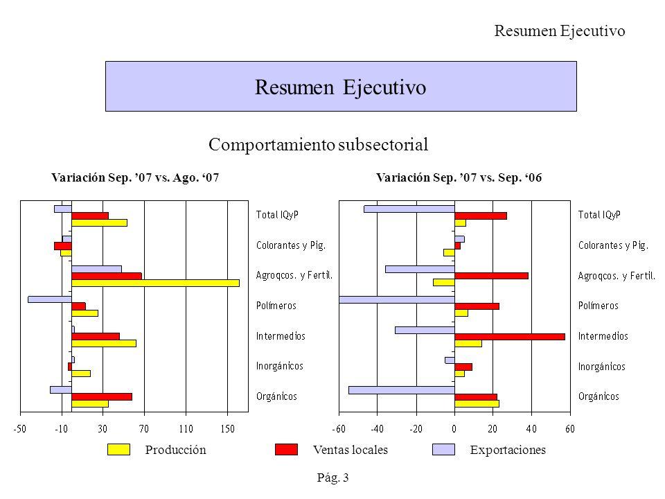 Resumen Ejecutivo Comportamiento subsectorial Variación Sep.