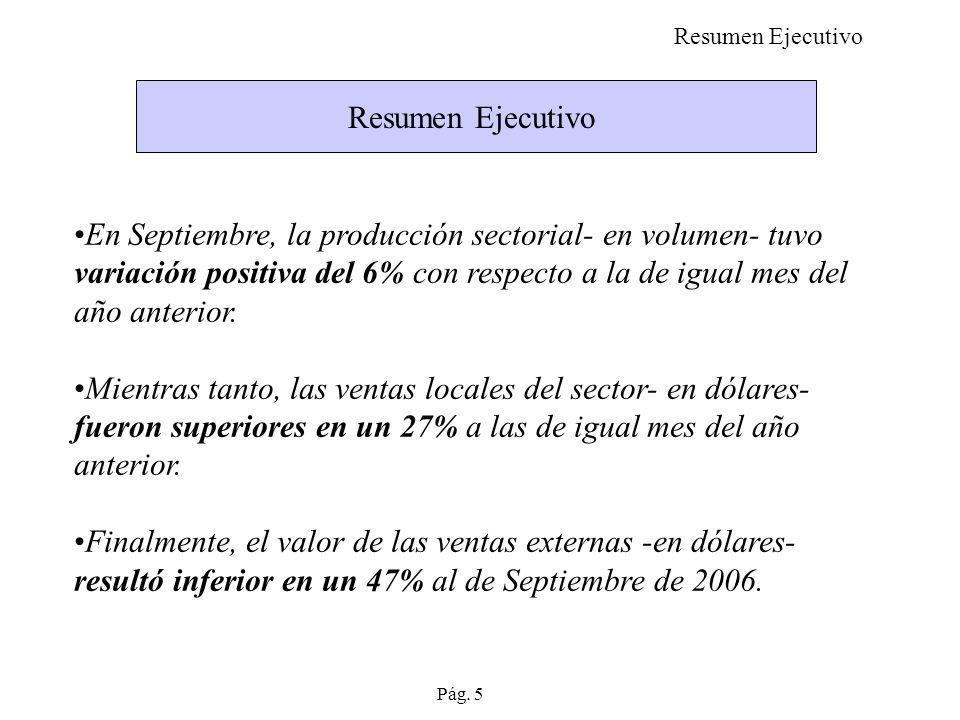 Resumen Ejecutivo En Septiembre, la producción sectorial- en volumen- tuvo variación positiva del 6% con respecto a la de igual mes del año anterior.