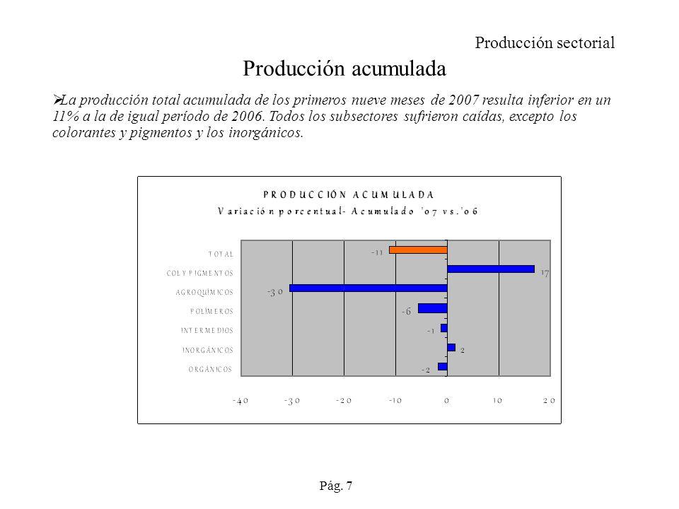 Producción acumulada La producción total acumulada de los primeros nueve meses de 2007 resulta inferior en un 11% a la de igual período de 2006.
