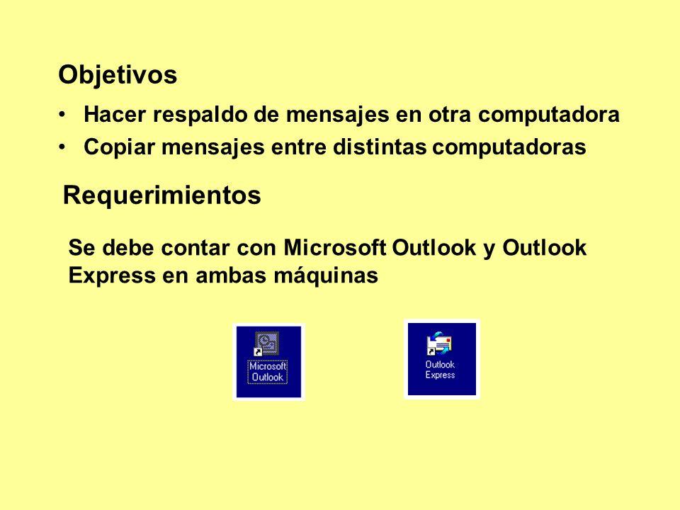 Objetivos Hacer respaldo de mensajes en otra computadora Copiar mensajes entre distintas computadoras Requerimientos Se debe contar con Microsoft Outlook y Outlook Express en ambas máquinas