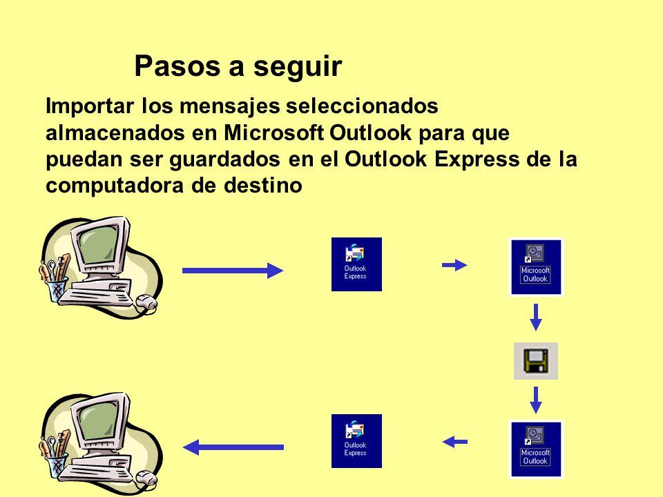 Pasos a seguir Importar los mensajes seleccionados almacenados en Microsoft Outlook para que puedan ser guardados en el Outlook Express de la computadora de destino