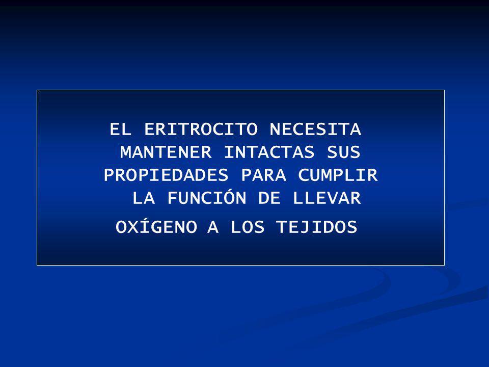 EL ERITROCITO NECESITA MANTENER INTACTAS SUS PROPIEDADES PARA CUMPLIR LA FUNCIÓN DE LLEVAR OXÍGENO A LOS TEJIDOS