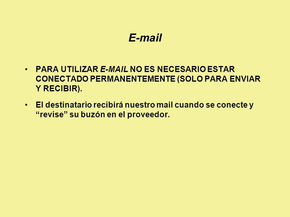 E-mail PARA UTILIZAR E-MAIL NO ES NECESARIO ESTAR CONECTADO PERMANENTEMENTE (SOLO PARA ENVIAR Y RECIBIR).