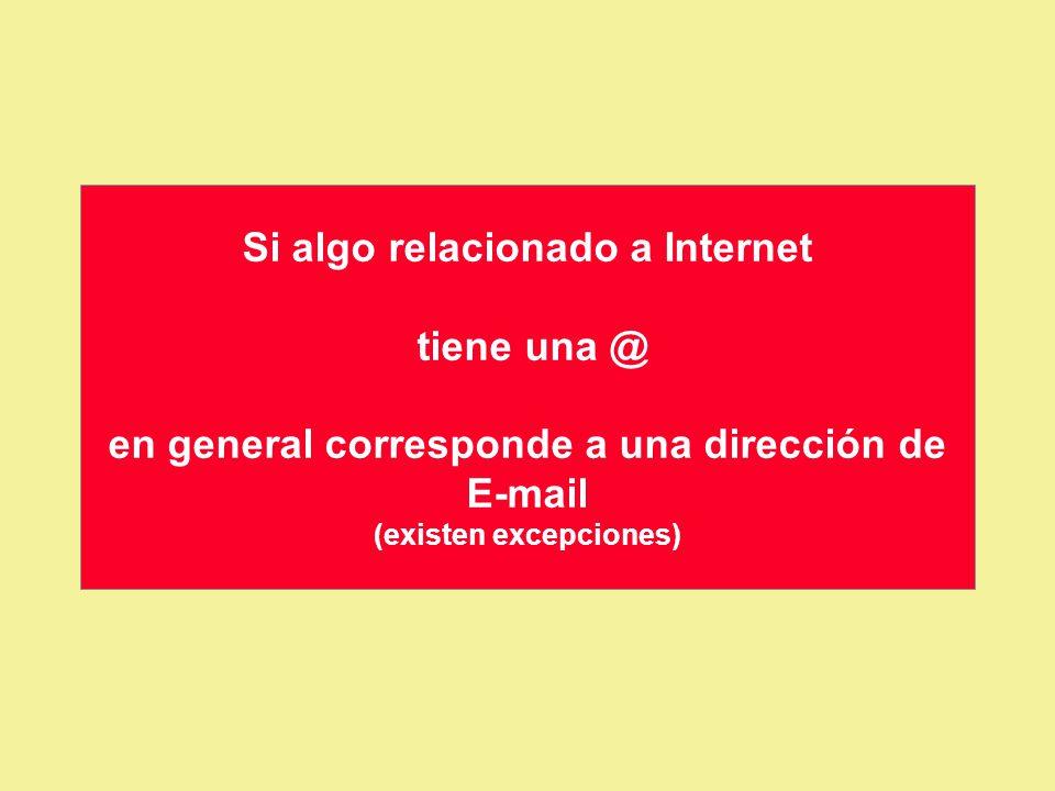 Si algo relacionado a Internet tiene una @ en general corresponde a una dirección de E-mail (existen excepciones)