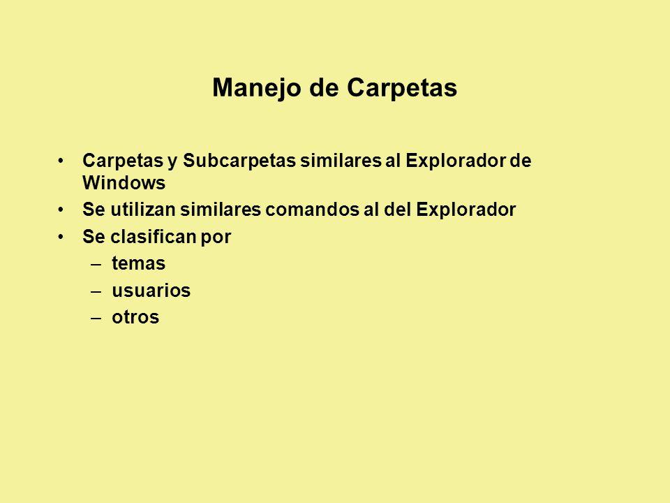 Manejo de Carpetas Carpetas y Subcarpetas similares al Explorador de Windows Se utilizan similares comandos al del Explorador Se clasifican por –temas –usuarios –otros