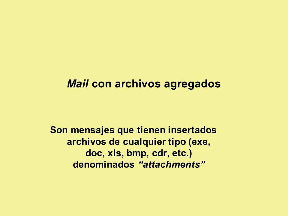 Mail con archivos agregados Son mensajes que tienen insertados archivos de cualquier tipo (exe, doc, xls, bmp, cdr, etc.) denominados attachments