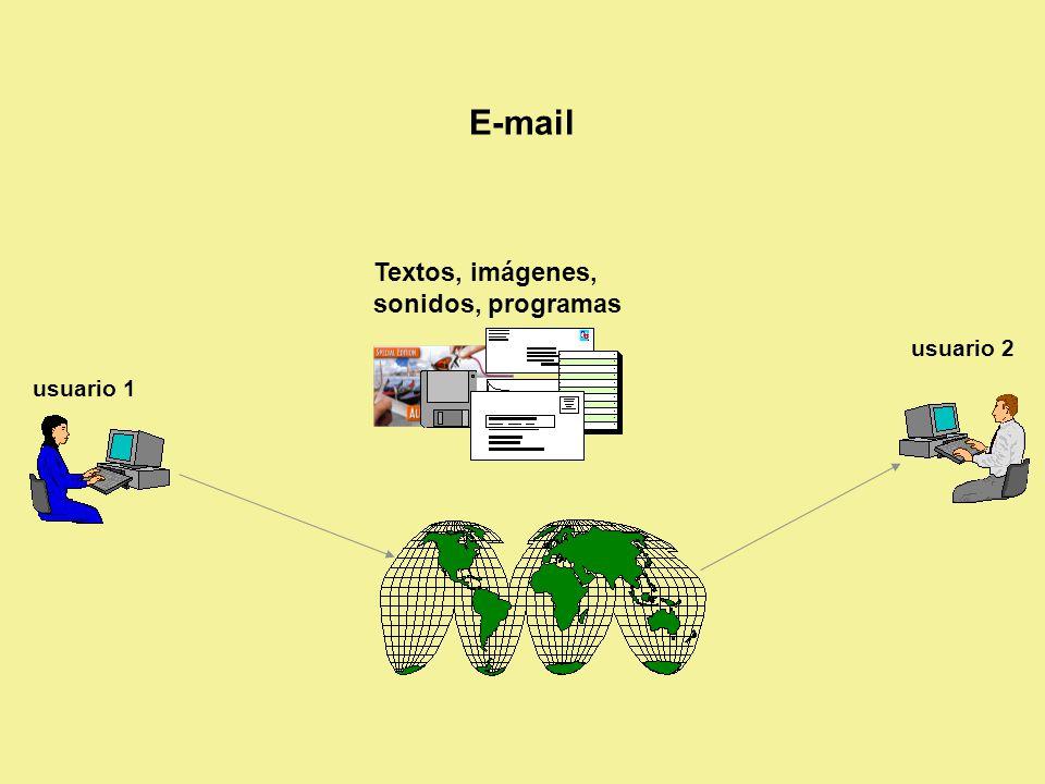 Tipos de envíos en E-Mail Sencillas Con copia (cc) Con copia oculta (cco) o copia ciega (bcc, blind carbon copy) De respuesta (reply) Reenviar a alguien un mensaje recibido (forward) Con agregados (attachments) Enviar a un grupo Opciones varias