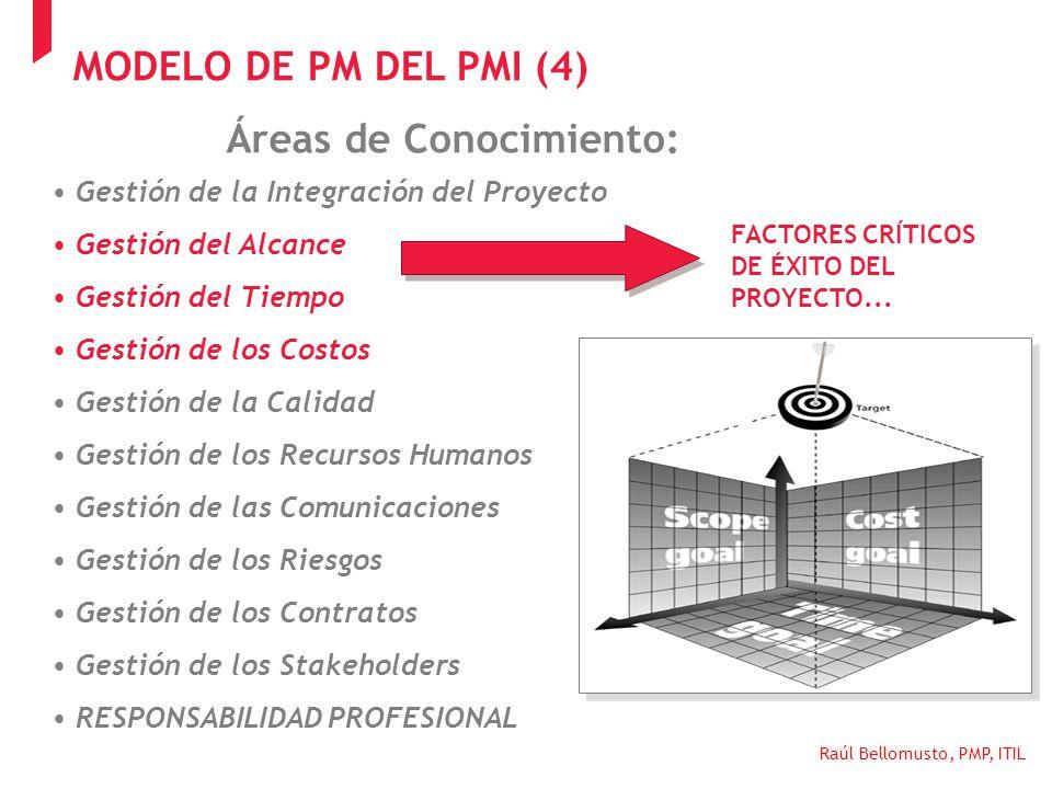 Raúl Bellomusto, PMP, ITIL Áreas de Conocimiento: Gestión de la Integración del Proyecto Gestión del Alcance Gestión del Tiempo Gestión de los Costos