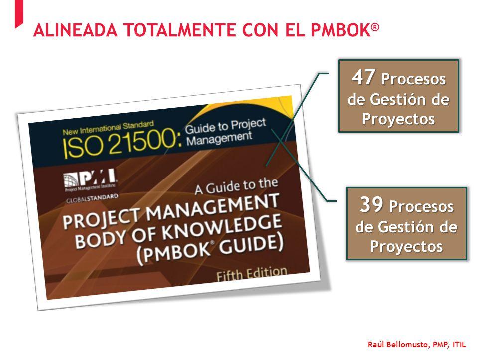 47 Procesos de Gestión de Proyectos 39 Procesos de Gestión de Proyectos ALINEADA TOTALMENTE CON EL PMBOK ®
