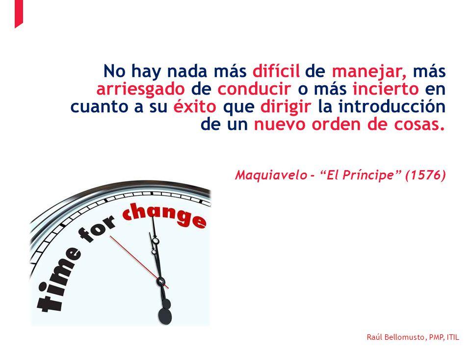 Raúl Bellomusto, PMP, ITIL No hay nada más difícil de manejar, más arriesgado de conducir o más incierto en cuanto a su éxito que dirigir la introducc