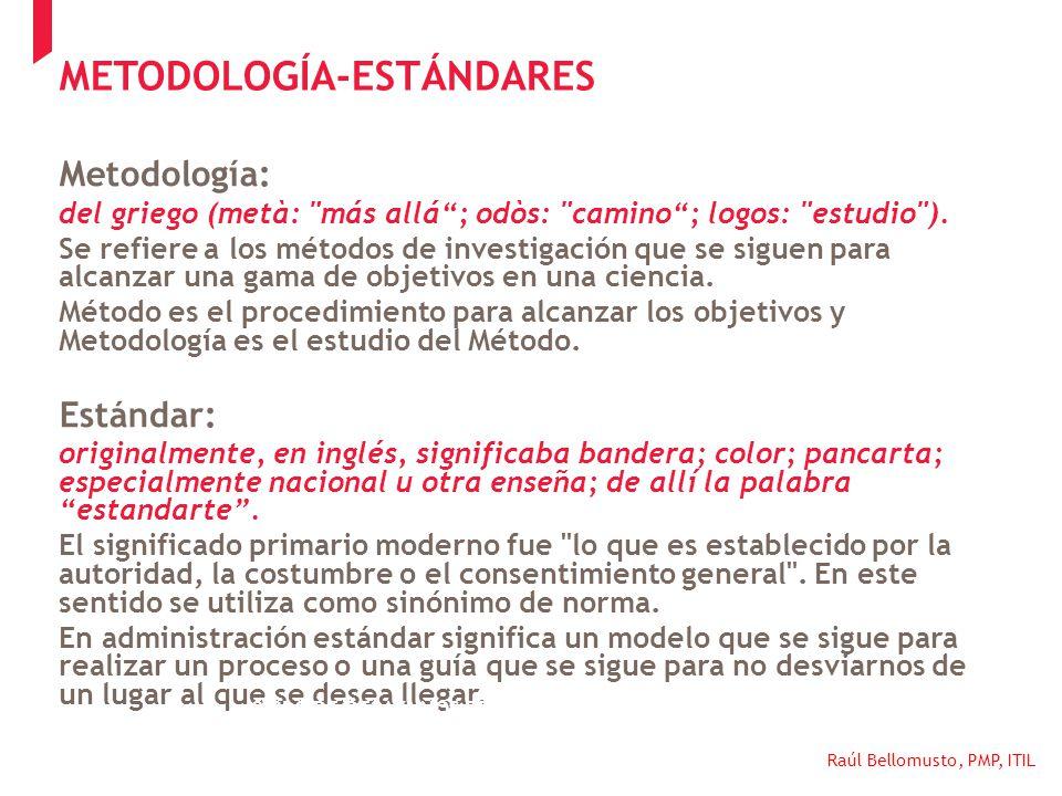 Raúl Bellomusto, PMP, ITIL METODOLOGÍA-ESTÁNDARES Metodología: del griego (metà: