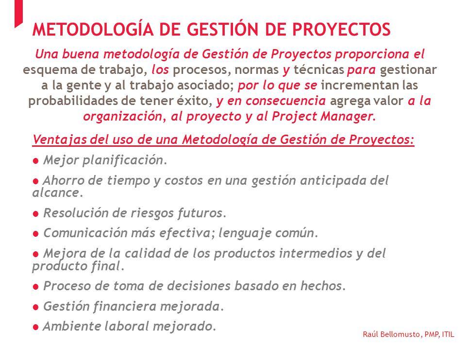 Raúl Bellomusto, PMP, ITIL Una buena metodología de Gestión de Proyectos proporciona el esquema de trabajo, los procesos, normas y técnicas para gesti