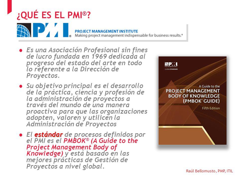 Raúl Bellomusto, PMP, ITIL Cobertura del PMBOK: CICLO DE DESAYUNOS DE TRABAJO 2013 TEMATICA PROJECT MANAGEMENT LA IMPORTANCIA DE UNA METODOLOGIA PARA LA GESTION EXITOSA DE PROYECTOS MODELO DE PM DEL PMI (1)
