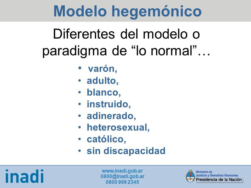 Diferentes del modelo o paradigma de lo normal… varón, adulto, blanco, instruido, adinerado, heterosexual, católico, sin discapacidad Modelo hegemónico www.inadi.gob.ar 0800@inadi.gob.ar 0800 999 2345