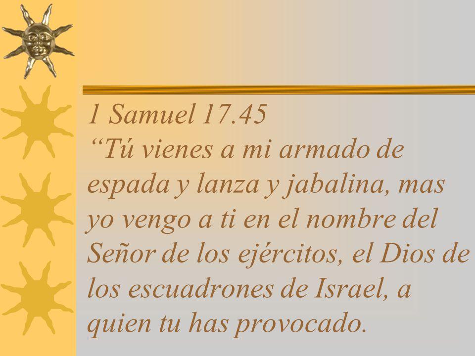 1 Samuel 17.40 Y tomando un bastón de pastor escogió del arroyo cinco piedras lisas, y las puso en su morral; luego tomó su honda y fue al encuentro del filisteo.