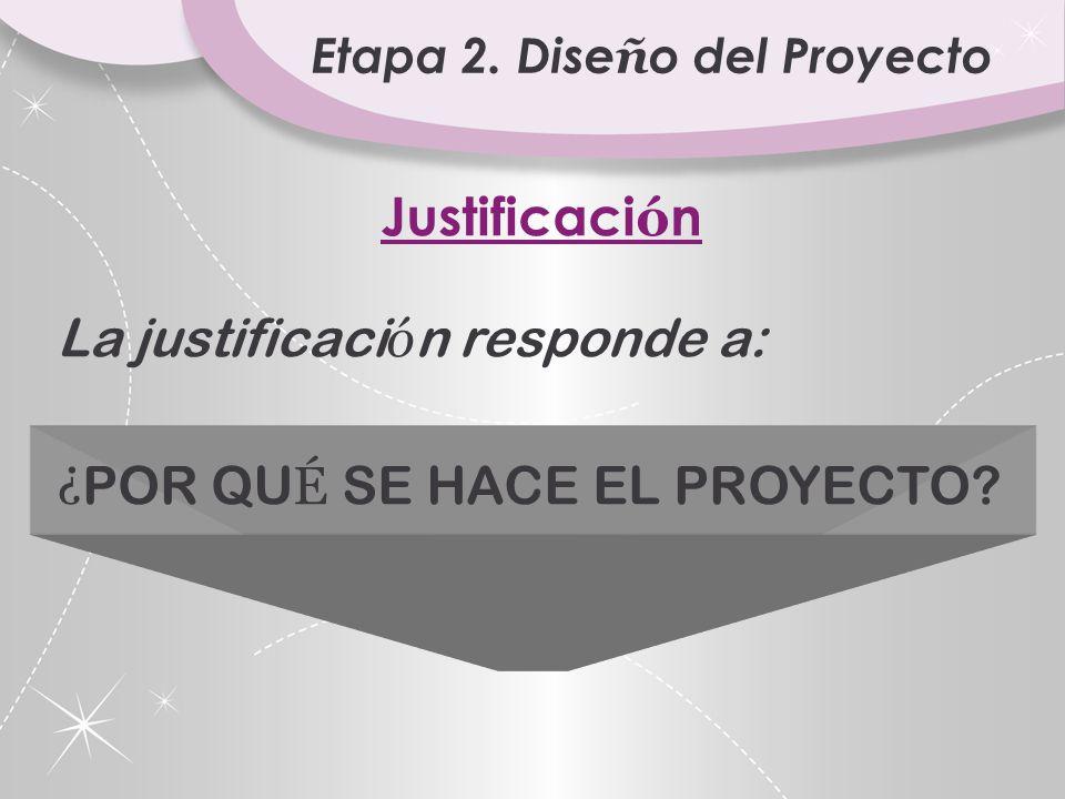 Etapa 2. Dise ñ o del Proyecto ETAPA 2. DISE Ñ O Nombre del Proyecto Responsable Justificaci ó n Descripci ó n del Proyecto Objetivo (cualitativo) Met