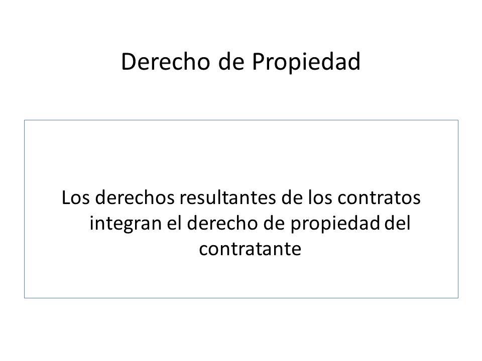 Derecho de Propiedad Los derechos resultantes de los contratos integran el derecho de propiedad del contratante