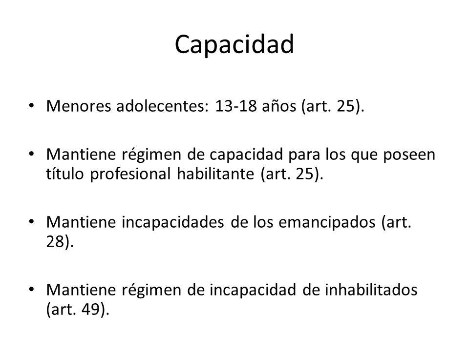 Capacidad Menores adolecentes: 13-18 años (art. 25). Mantiene régimen de capacidad para los que poseen título profesional habilitante (art. 25). Manti