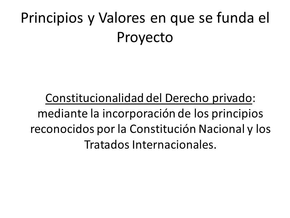 Principios y Valores en que se funda el Proyecto Constitucionalidad del Derecho privado: mediante la incorporación de los principios reconocidos por l