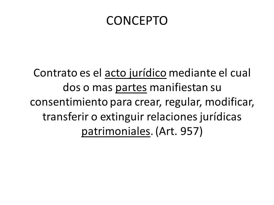CONCEPTO Contrato es el acto jurídico mediante el cual dos o mas partes manifiestan su consentimiento para crear, regular, modificar, transferir o ext