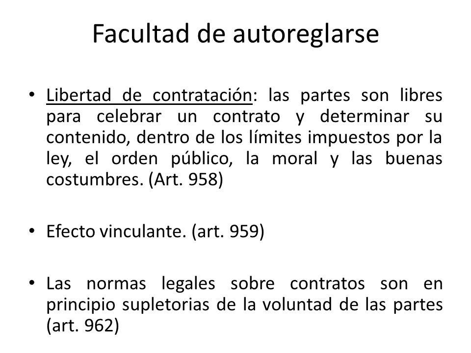 Facultad de autoreglarse Libertad de contratación: las partes son libres para celebrar un contrato y determinar su contenido, dentro de los límites im