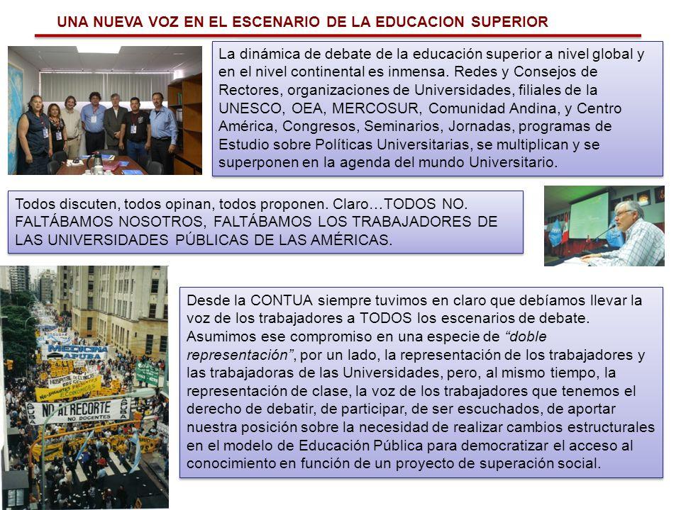 UNA NUEVA VOZ EN EL ESCENARIO DE LA EDUCACION SUPERIOR La dinámica de debate de la educación superior a nivel global y en el nivel continental es inme