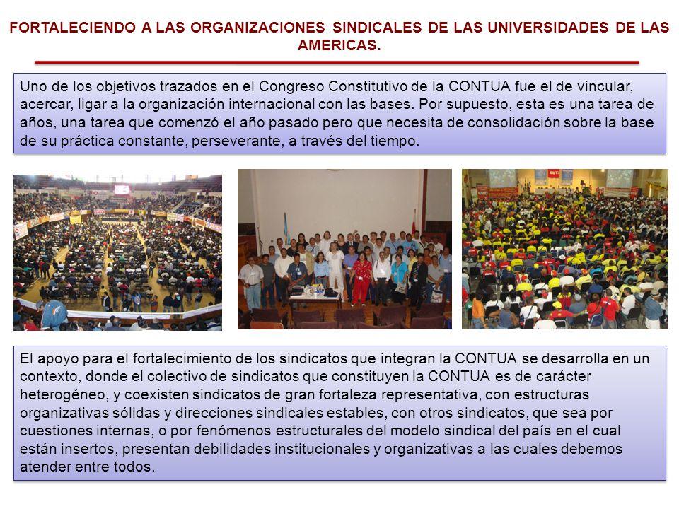 FORTALECIENDO A LAS ORGANIZACIONES SINDICALES DE LAS UNIVERSIDADES DE LAS AMERICAS. Uno de los objetivos trazados en el Congreso Constitutivo de la CO