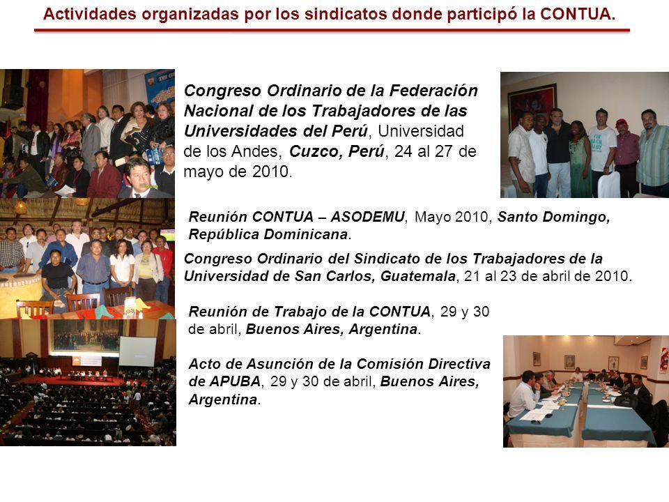 Actividades organizadas por los sindicatos donde participó la CONTUA. Congreso Ordinario de la Federación Nacional de los Trabajadores de las Universi