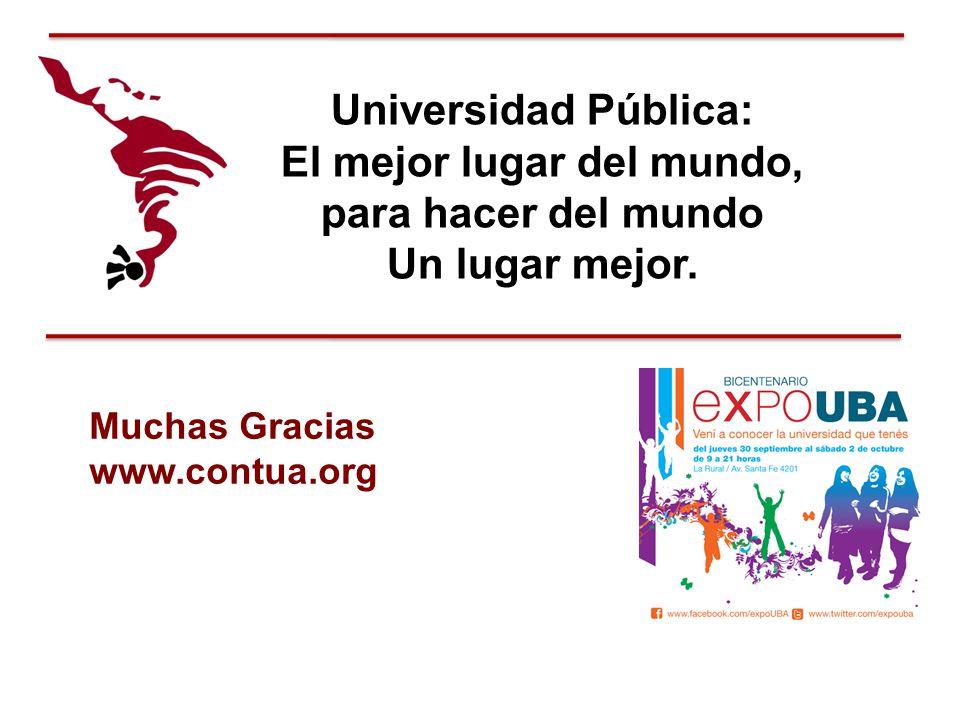 Universidad Pública: El mejor lugar del mundo, para hacer del mundo Un lugar mejor. Muchas Gracias www.contua.org