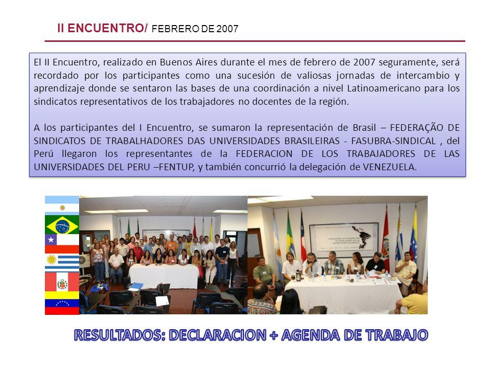 II ENCUENTRO/ FEBRERO DE 2007 El II Encuentro, realizado en Buenos Aires durante el mes de febrero de 2007 seguramente, será recordado por los partici