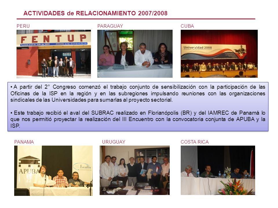 PERU PANAMA PARAGUAYCUBA URUGUAY ACTIVIDADES de RELACIONAMIENTO 2007/2008 COSTA RICA A partir del 2° Congreso comenzó el trabajo conjunto de sensibili