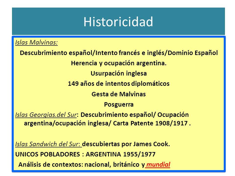 Historicidad Islas Malvinas: Descubrimiento español/Intento francés e inglés/Dominio Español Herencia y ocupación argentina.